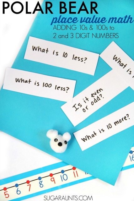 Polar bear math game for second grade base ten operations concepts like adding 10s and 100s to two and three digit numbers for hands on fun and creative learning with a fun polar bear craft!